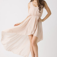 Nude Asymmetric Waterfall Dress by Chic+ - New Arrivals - Retro, Indie and Unique Fashion
