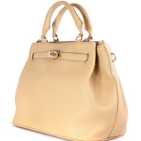 Nude Front Lock Shoulder Bag by Chic+ - New Arrivals - Retro, Indie and Unique Fashion