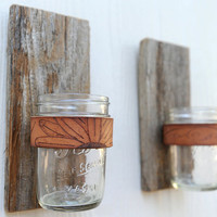 Branded Jar Sconce, made of rustic reclaimed wood fence picket, leather and mason jar