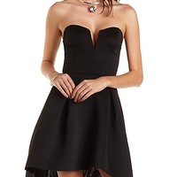Plunging Sleeveless Skater Dress by Charlotte Russe - Black