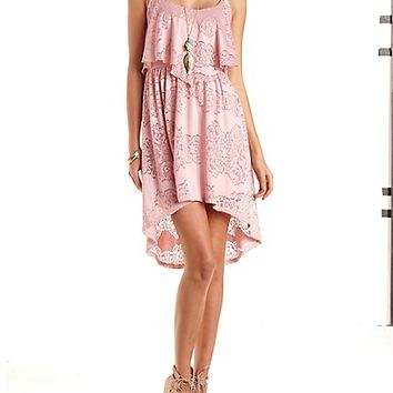 Lace Flounce High-Low Dress by Charlotte Russe - Blush