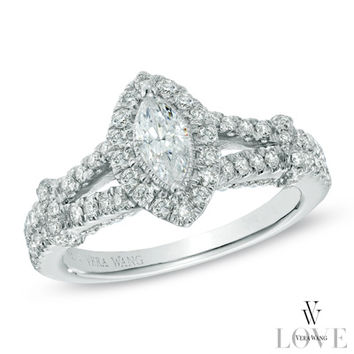 Vera Wang LOVE Collection 1 CT. T.W. Marquise Diamond Frame Engagement Ring in 14K White Gold