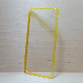 Super slim TPU Soft Silicone Bumper and Clear Hard Acrylic Back Case for iphone 6 (4.7 inches) - Transparent Yellow