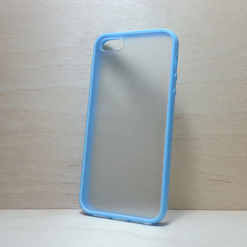 Silicone Bumper and Translucent Frosted Hard Plastic Back Case for iPhone 5 / 5S - Light Blue