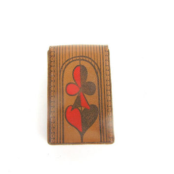 Case for playing cards genuine leather vintage new old stock