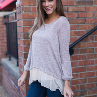 Sheer And Sweet Top, Taupe
