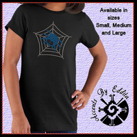 Rhinestone Spider in Web GIRLS T Shirt sizes S - L Super Sparkly Perfect for Halloween