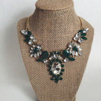 Kaylin Green Statement Necklace and Earring Set