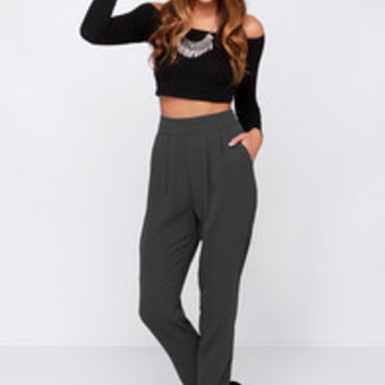 Dee Elle All About the Chic High-Waisted Grey Pants