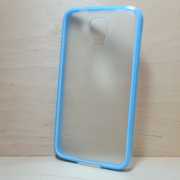 Silicone Bumper and Translucent Frosted Hard Plastic Back Case for Samsung Galaxy S5 - Light Blue