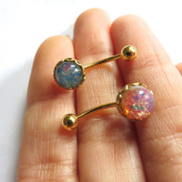 Glass Fire Opal Rook Eyebrow Rook Piercing Earring Jewelry Ring Bar Barbell 16g 16 G Gauge Surgical Steel Stud