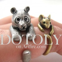 3D Panda Bear Animal Wrap Around Ring in Silver - Sizes 5 to 9 Available