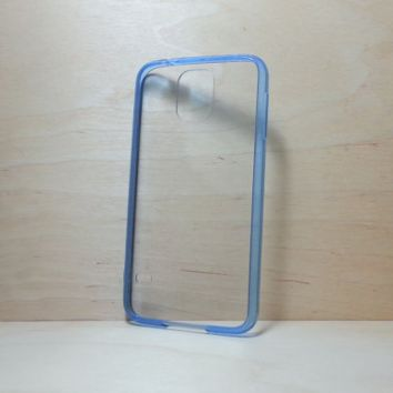 Silicone Bumper and Clear Hard Acrylic Back Case for Samsung Galaxy S5 - Blue