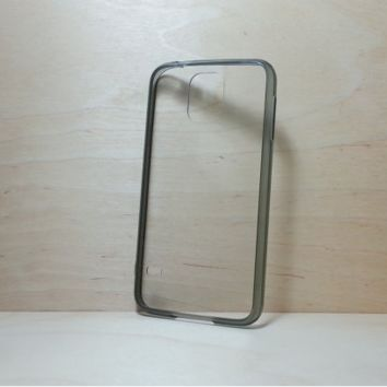 Silicone Bumper and Clear Hard Acrylic Back Case for Samsung Galaxy S5 - Black