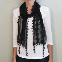 Black tulle scarf, autumn scarf