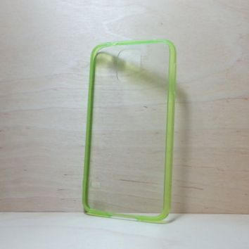 Silicone Bumper and Clear Hard Acrylic Back Case for Samsung Galaxy S5 - Grass Green