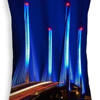 "Red White and Blue Indian River Inlet Bridge Throw Pillow 20"" x 14"""