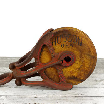 Vintage Barn Pulley, Cast Iron and Wood, Rustic Decor, Vintage Farm, Industrial