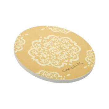 Quatrefoil Damask (Yellow) Beverage Coaster