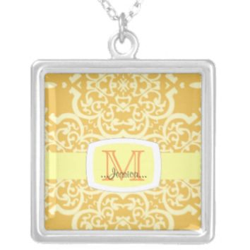 Quatrefoil Damask (Yellow) Custom Jewelry