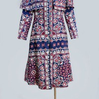 1960&#x27;s Blue Paisley MOD Era Trench Coat - M VINTAGE TRENCH COATS 1960&#x27;s :