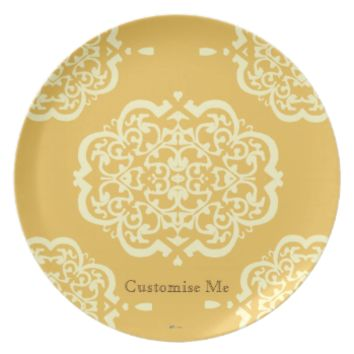 Quatrefoil Damask (Yellow) Party Plate