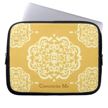 Quatrefoil Damask (Yellow) Laptop Computer Sleeves