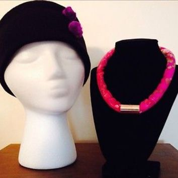 Pink European Rope Fabric Necklace