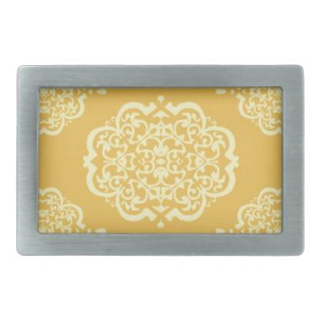 Quatrefoil Damask (Yellow) Belt Buckles