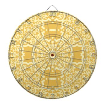 Quatrefoil Damask (Yellow) Dartboard