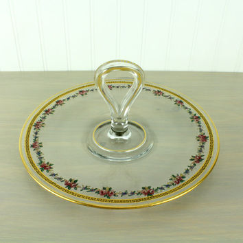 Vintage Glass Transferware Serving Tray
