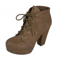 Soda Women's Agenda Lace Up Platform Ankle Bootie with Thick Heels, taupe leatherette, 10 M US