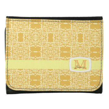 Quatrefoil Damask (Yellow) Trifold Wallet