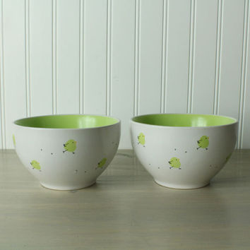 Little Chick Vintage Cereal Bowls, Pair