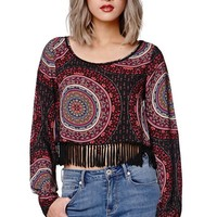 Gypsy Warrior Poet Sleeve Cropped Top - Womens Shirts - Brown