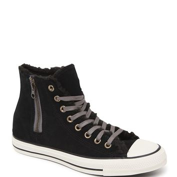 Converse Chuck Taylor All Star Hi Suede Shearling Sneakers - Womens Shoes - Black