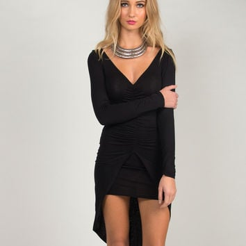 Scrunched Jersey Dress - Black /