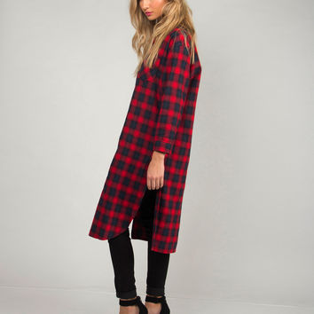 Double Slit Plaid Tunic Dress - Red /