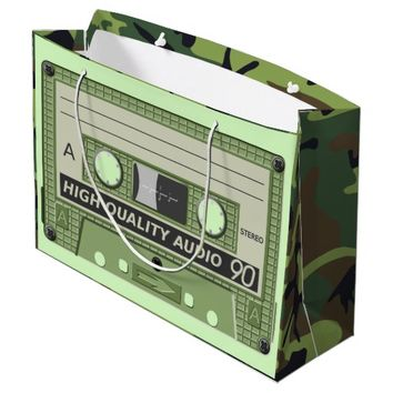 MUSIC CASSETTE TAPE (CAMOUFLAGE) Large Gift Bag