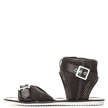 Qupid Buckled Mesh Ankle Cuff Sandals by Charlotte Russe - Black