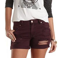 "Refuge ""Boyfriend"" Rolled-Up Denim Shorts by Charlotte Russe - Wine"