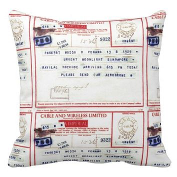 VINTAGE EPHEMERA (1950's TELEGRAM) Throw Pillow