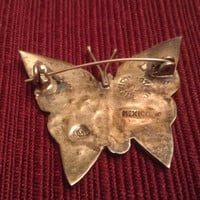 sterling butterfly brooch with abalone stones mexican silver hallmarked