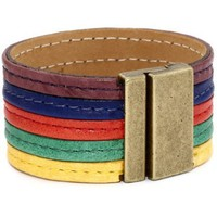 Streets Ahead Color Block Barollo Leather Cuff Bracelet - designer shoes, handbags, jewelry, watches, and fashion accessories | endless.com