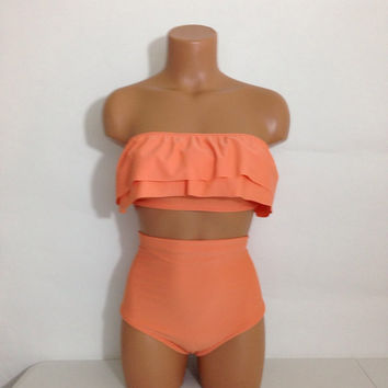 Melon ruffle bandeau retro swimsuit