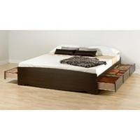 Espresso King Size Captains Platform Storage Bed w/ 6-Dresser Underbed Drawers