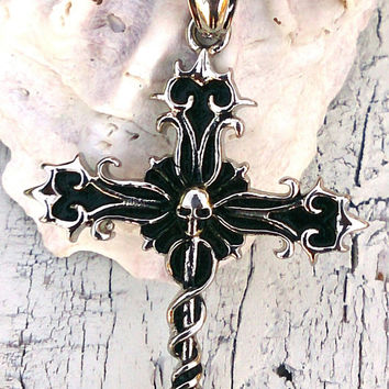 Skull Cross Stainless Steel Necklace 18 inch Chain Men Women