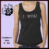 Rhinestone Heart T Shirt or Tank in Womens sizes S - 3XL I Love my GEEK