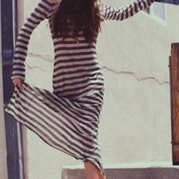 Linen Stripe Maxi Dress - NEW - Shop Online