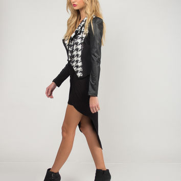 Houndstooth Pleather Jacket - Black /